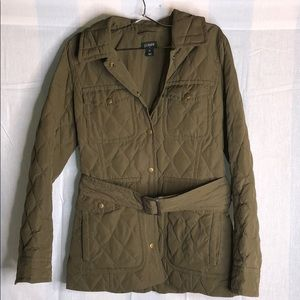 J.Crew olive green quilted down jacket!!